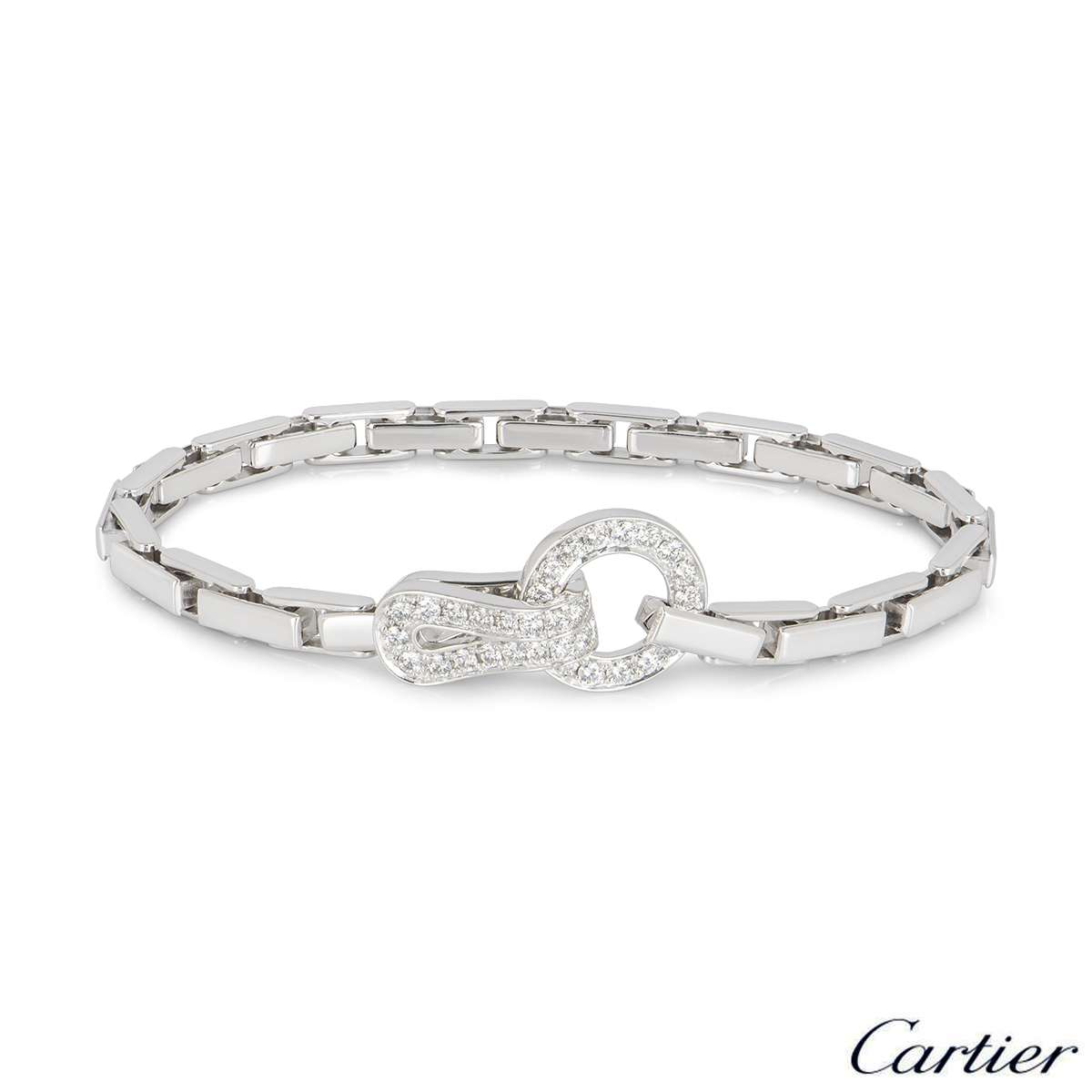 Cartier White Gold Diamond Agrafe Bracelet